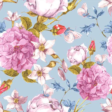pfingstrosen: Floral Seamless Vintage Hintergrund mit Rosen Illustration