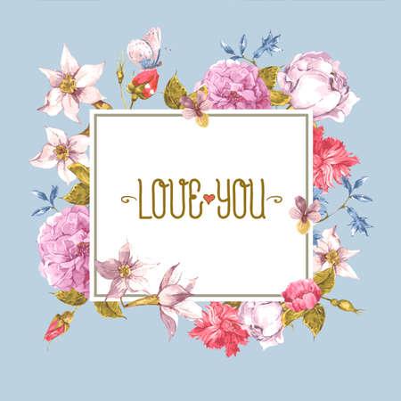 flores exoticas: Tarjeta de felicitaci�n de la vendimia, la acuarela Ilustraci�n. Vectores