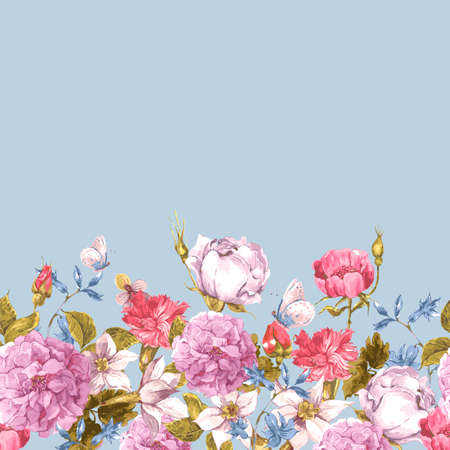 Floral Seamless Watercolor Border with Roses Illustration