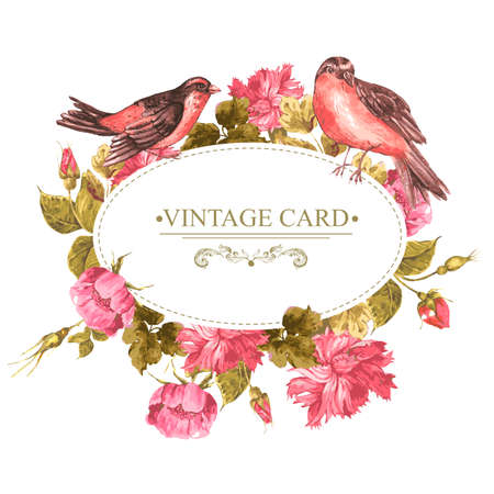 Floral Bouquet with Roses and Bird, Vintage Card Vectores