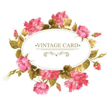 carnation: Tarjeta de felicitaci�n de la vendimia, la acuarela Ilustraci�n. Vectores