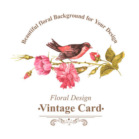 Floral Bouquet with Roses and Bird, Vintage Card Illustration