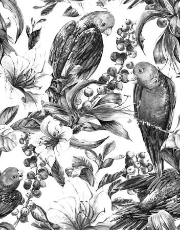 tropical bird: Monochrome Watercolor Exotic Seamless Background with Berries, Tropical Flowers and Parrots, Watercolor Illustration.