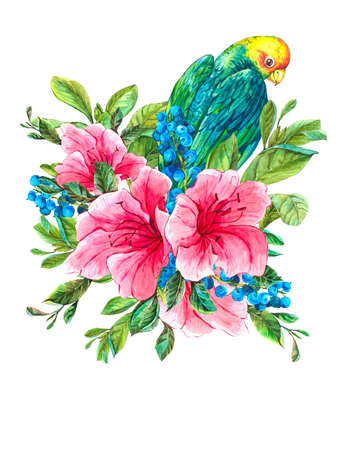 exotic fruit: Watercolor Exotic Vintage Card with Blue berries, Pink Tropical Flowers and Green Parrots, Watercolor Illustration