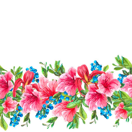 tropical border: Exotic Floral Seamless Watercolor Border with Blue berries, Pink Tropical Flowers. Watercolor Illustration