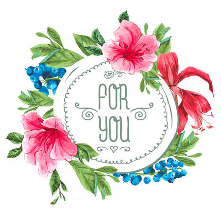hibiscus: Vintage Watercolor Greeting Card with Blooming Exotic Flowers, Blueberries and Pink Tropical Flowers. Love You with Place for Your Text. Vector Illustration