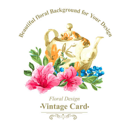 Invitation Vintage Card with Blueberries, Pink Tropical Flowers and Teapot, Watercolor Vector Illustration 일러스트