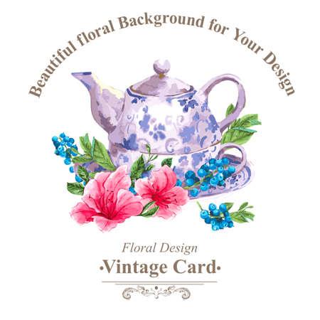 ブルーベリー、ピンクの熱帯の花、ティーポット、水彩ベクトル イラスト招待ビンテージ カード