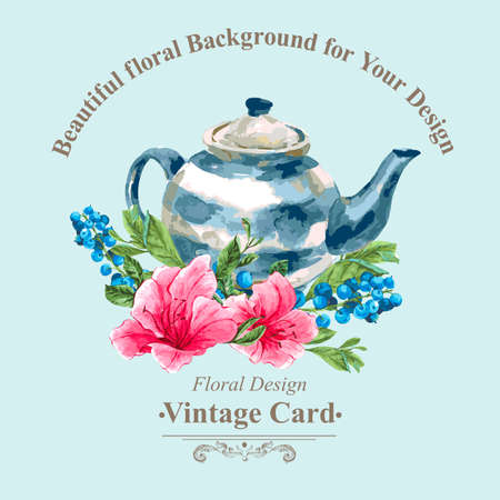 morning tea: Invitation Vintage Card with Blueberries, Pink Tropical Flowers and Teapot, Watercolor Vector Illustration Illustration