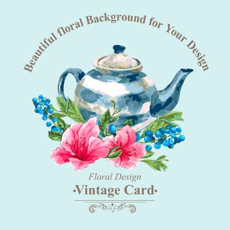 Uitnodiging vintage kaart met Bosbessen, Roze tropische bloemen en Theepot, aquarel Vector Illustratie