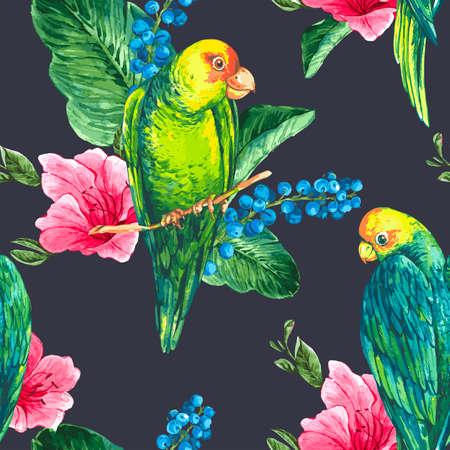 loros verdes: Acuarela Ex�tico Fondo incons�til con los ar�ndanos, las flores rosadas tropicales y loros verdes, ilustraci�n vectorial Acuarela Vectores