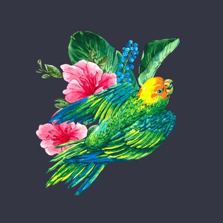 loros verdes: Acuarela Exotic Tarjeta de la vendimia con las bayas azules, flores rosadas tropicales y loros verdes, ilustraci�n vectorial Acuarela