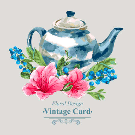 felicitaciones cumpleaÑos: Vintage tarjeta floral con rosas, flores silvestres y la cinta, ilustración vectorial