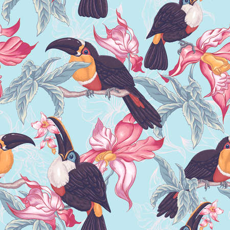 orchid: Beautiful Vintage Tropical Seamless Background with Exotic Flowers and Toucan, Vector illustration
