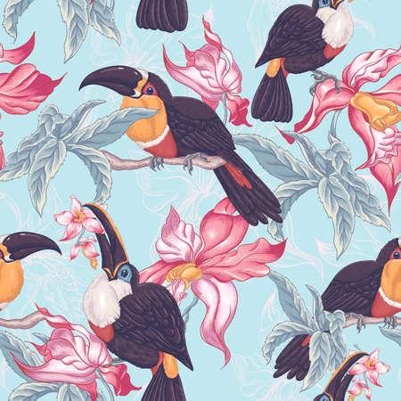 Mooie Vintage Tropische Naadloze achtergrond met exotische bloemen en Toucan, Vector illustratie
