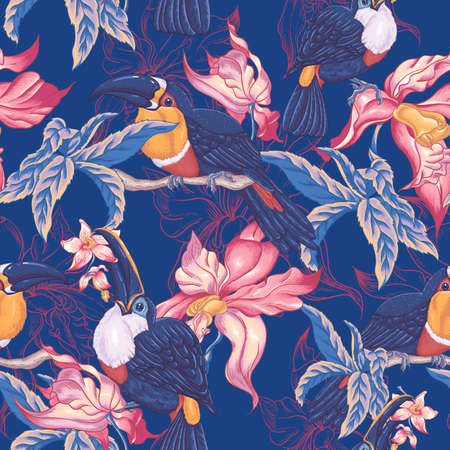jungle animals: Beautiful Vintage Tropical Seamless Background with Exotic Flowers and Toucan, Vector illustration