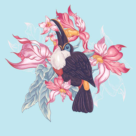 ornithology: Floral Vector Vintage Card with Exotic Flowers and Toucan. Vector Design element. Illustration
