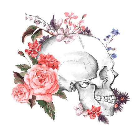 skull drawing: Roses and Skull, Day of The Dead, Vintage Vector illustration