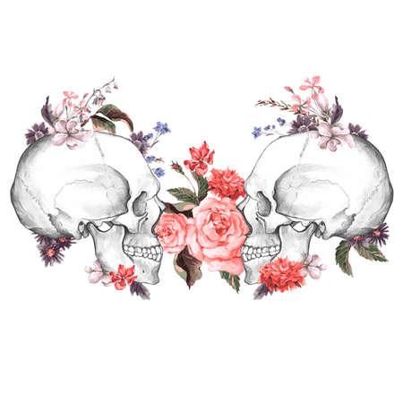 rosas negras: Rosas y cr�neo, D�a de La, ilustraci�n vectorial Vintage Dead