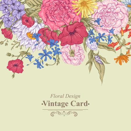 botanical gardens: Gentle Retro Summer Floral Greeting Card, Vintage Bouquet, Vector illustration. Roses Poppies Bluebells Peony Lily Illustration