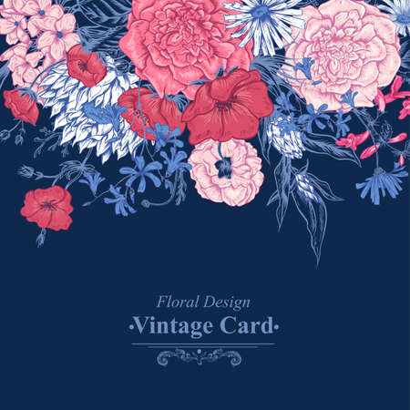 Gentle Retro Summer Floral Greeting Card, Vintage Bouquet, Vector illustration. Roses Poppies Bluebells Peony Lily Çizim