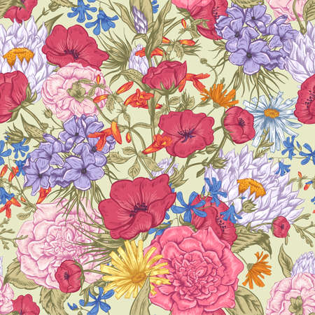 mazzo di fiori: Modello Gentle Retr� Estate seamless floreale, d'auguri Bouquet, illustrazione vettoriale Roses Papaveri Bluebells Peony Lily
