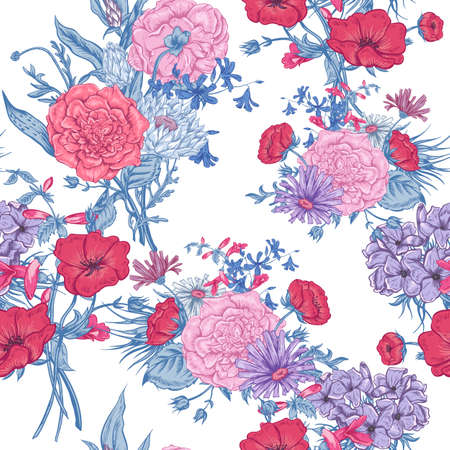 botanical gardens: Gentle Retro Summer Seamless Floral Pattern, Vintage Greeting Bouquet, Vector illustration Roses Poppies Bluebells Peony Lily Illustration