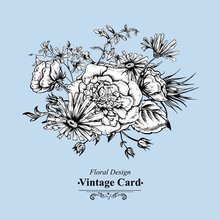 botanical gardens: Monochrome Retro Summer Floral Greeting Card, Vintage Bouquet, Vector illustration. Roses Poppies Bluebells Peony Lily