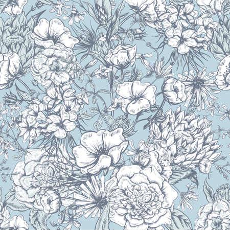 flower gardens: Modelo retro inconsútil del verano monocromo floral, Bouquet felicitación de la vendimia, ilustración vectorial Rosas Amapolas Campanillas Peony Lily Vectores