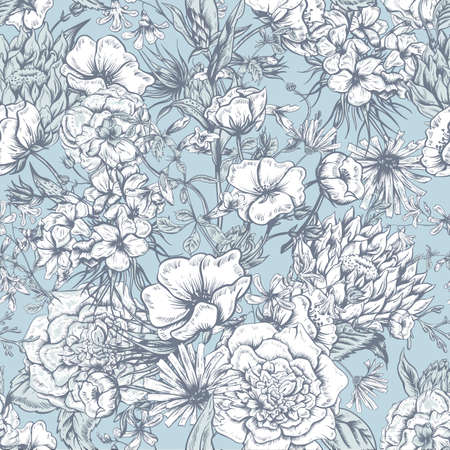 Retro Summer Seamless Monochrome Floral Pattern, Vintage Greeting Bouquet, Vector illustration Roses Poppies Bluebells Peony Lily Vector
