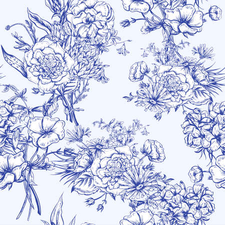 bluebells: Retro Summer Seamless Monochrome Floral Pattern, Vintage Greeting Bouquet, Vector illustration Roses Poppies Bluebells Peony Lily