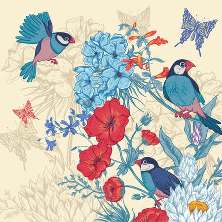 Vintage Floral Greeting Card with Birds and Butterflies. Blooming Hydrangea, Poppies and Bluebells, Lily on Beige Background. Vector illustration