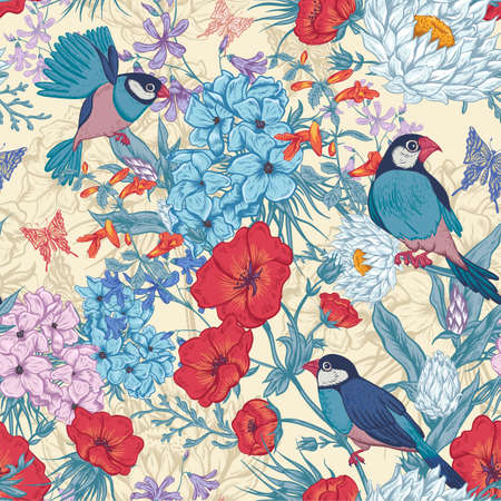 Retro Summer Seamless Floral Pattern with Birds and Butterflies. Blooming Hydrangea, Poppies and Bluebells Lily. Vector illustration
