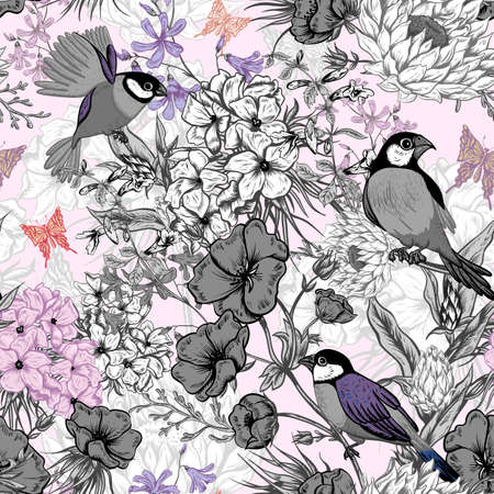 Retro Summer Seamless Monochrome Floral Pattern with Birds and Butterflies. Blooming Hydrangea, Poppies and Bluebells Lily. Vector illustration