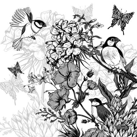 lily vector: Vintage Monochrome Floral Greeting Card with Birds and Butterflies. Blooming Hydrangea, Poppies and Bluebells, Lily. Vector illustration with Place for Your Text. Illustration