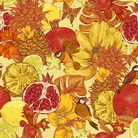 birds of paradise: Vintage Seamless Background, Tropical Fruit, Flowers, Butterfly and Birds, Vector Illustration. Pineapple and Pomegranate, Lemon Banana and Hibiscus