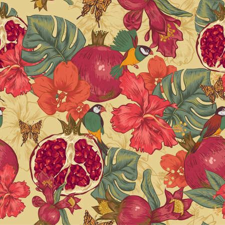 Vintage Seamless Background, Tropical Fruit, Flowers, Butterfly and Birds, Vector Illustration. Pomegranate and Hibiscus 일러스트