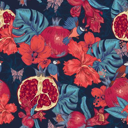 ヴィンテージのシームレスな背景、トロピカル フルーツ、花、蝶、鳥、ベクトル図。ザクロとハイビスカス