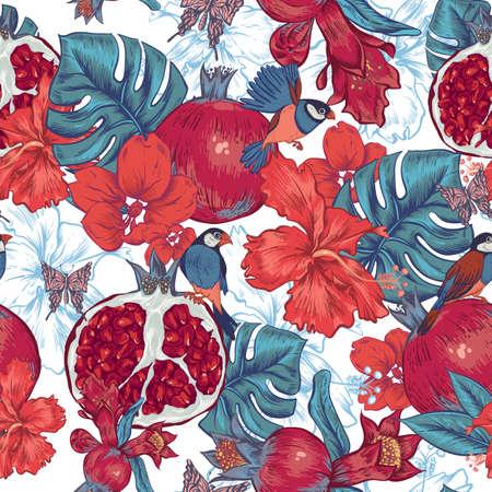 ビンテージのシームレスな背景、トロピカル フルーツ、花、蝶、鳥、ベクトル図。ザクロとハイビスカス
