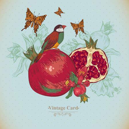 Vintage Wenskaart Tropisch Fruit, bloemen, vlinders en vogels, Vector Illustratie. Granaatappel