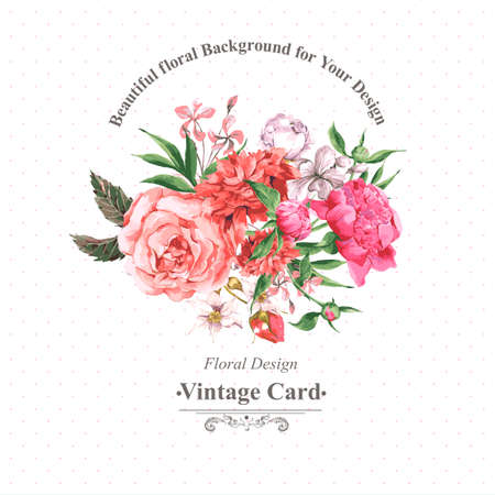 flores exoticas: Tarjeta de felicitación de la vendimia de la acuarela con Flores florecientes. Rosas, Flores silvestres y peonías, ilustración vectorial