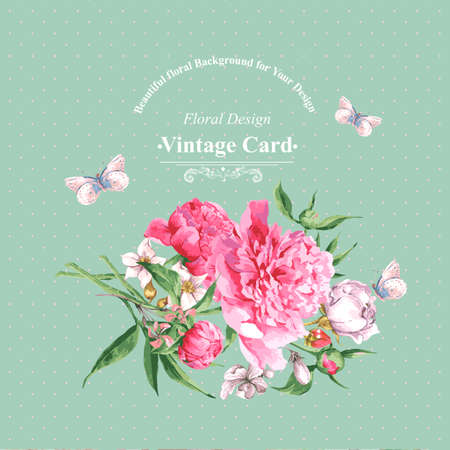 Vintage Watercolor Greeting Card with Blooming Flowers and Butterflies. Roses, Wildflowers and Peonies, Vector Illustration Banco de Imagens - 40183495