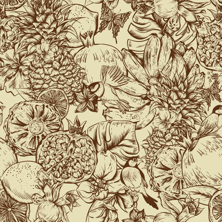 pomegranate: Vintage Monochrome Seamless Background, Tropical Fruit, Flowers, Butterfly and Birds, Vector Illustration. Pineapple and Pomegranate, Lemon Banana and Hibiscus Illustration