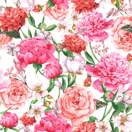 Summer Seamless  Watercolor Pattern with Pink Peonies and Roses on a White Background, Vector Illustration