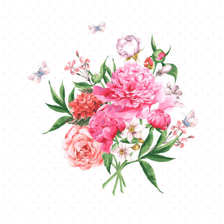 Vintage Watercolor Greeting Card with Blooming Flowers and Butterflies. Roses, Wildflowers and Peonies, Vector Illustration