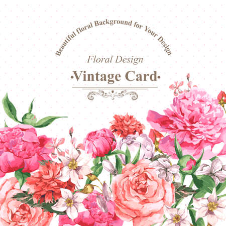 dessin fleurs: Vintage carte de voeux d'aquarelle avec des fleurs en fleurs. Roses, fleurs sauvages et Pivoines, illustration vectorielle