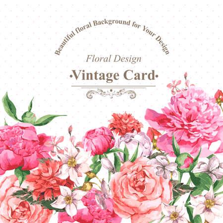 Weinlese-Aquarell Grußkarte mit blühenden Blumen. Rosen, Wildblumen und Pfingstrosen, Vektor-Illustration