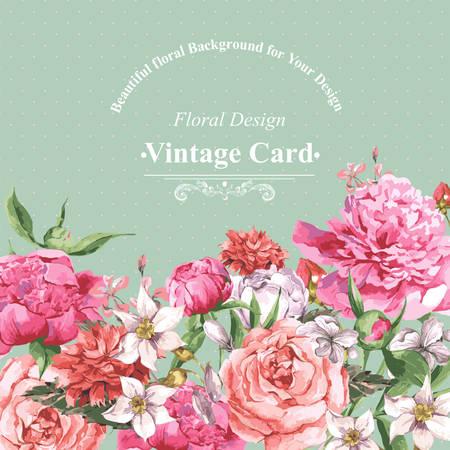 dessin fleur: Vintage carte de voeux d'aquarelle avec des fleurs en fleurs. Roses, fleurs sauvages et Pivoines, illustration vectorielle