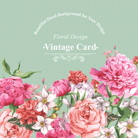 Vintage Watercolor Greeting Card with Blooming Flowers. Roses, Wildflowers and Peonies, Vector Illustration Çizim