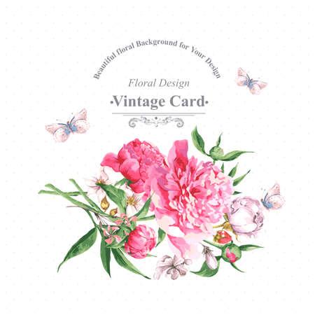 피 꽃과 나비와 함께 빈티지 수채화 인사말 카드입니다. 장미, 야생화와 모란, 벡터 일러스트 레이 션